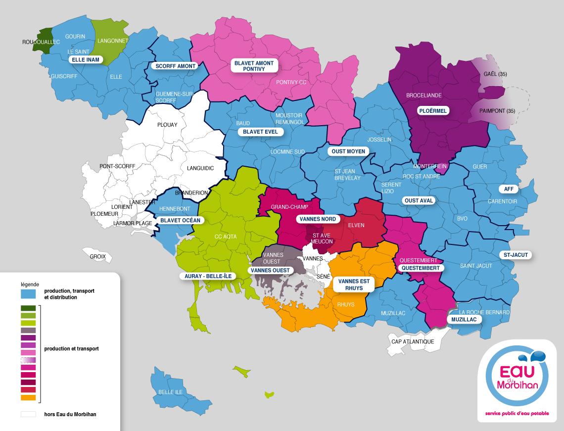 Carte des collèges territoriaux   Eau du Morbihan