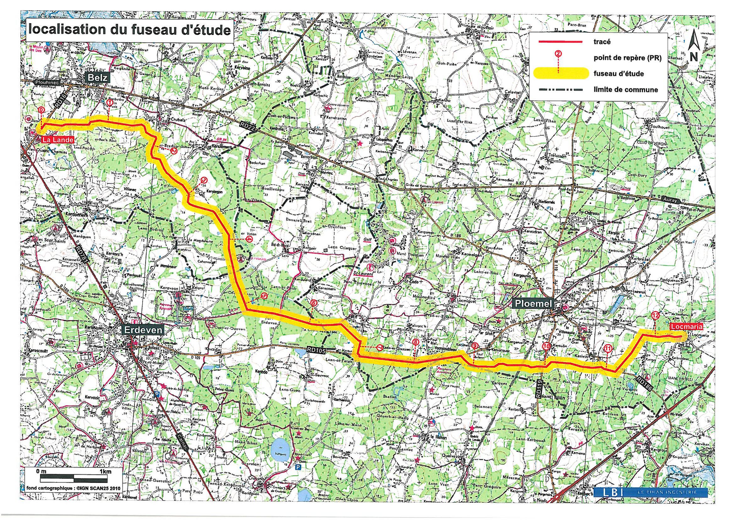 feeder Belz-Ploemel - tracé