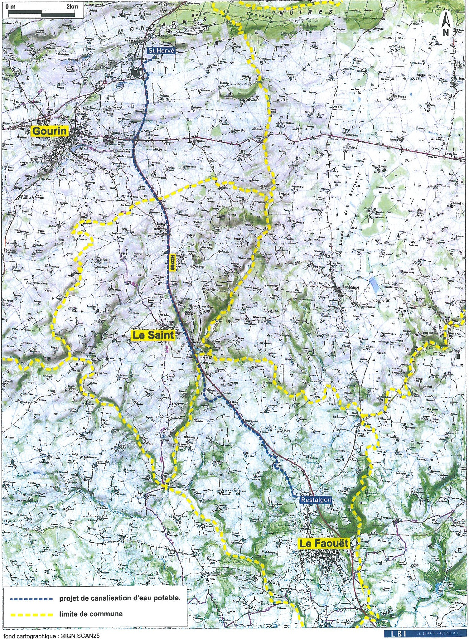 tracé Gourin Le Faouët